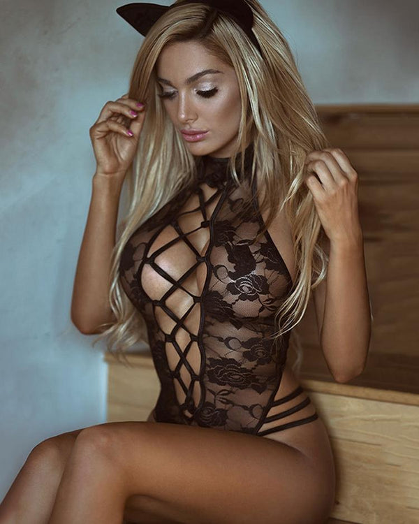 Caged Sheer Lace Cutout Lingerie Costumes