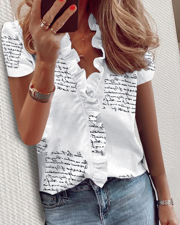 Print Short Sleeve Ruffles Casual Blouse