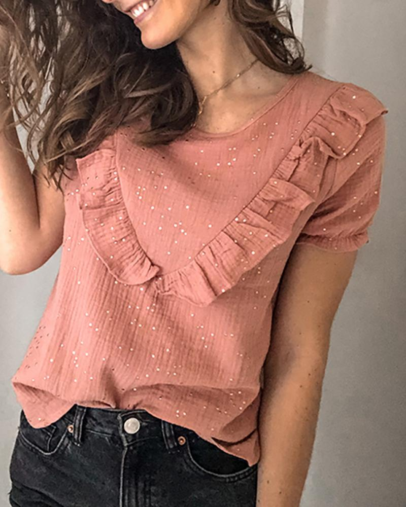 Solid Ruffles Round Neck Casual T-shirt