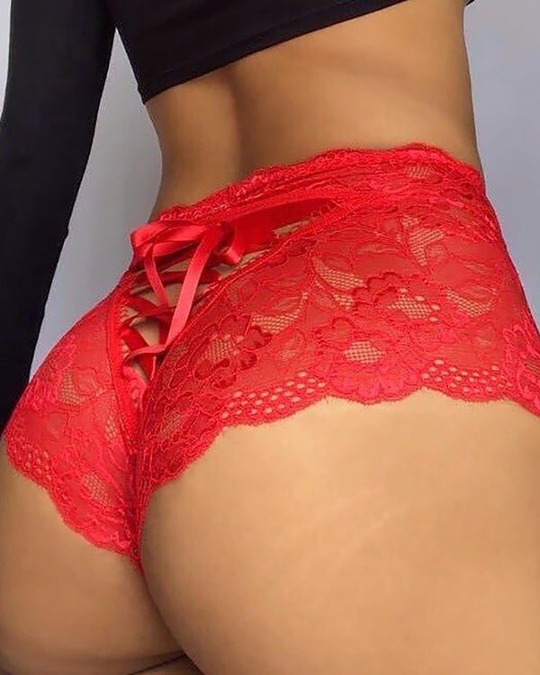 Lace Insert Lace-up Cutout Panty