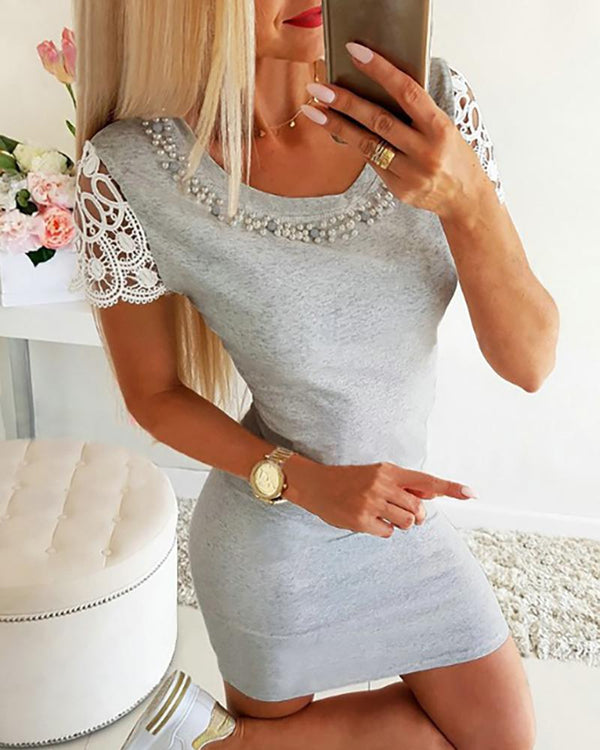 Beaded Crochet Lace Short Sleeve Bodycon Dress