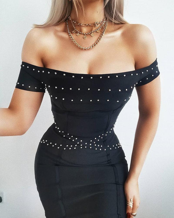 Off Shoulder Beaded Design Dress