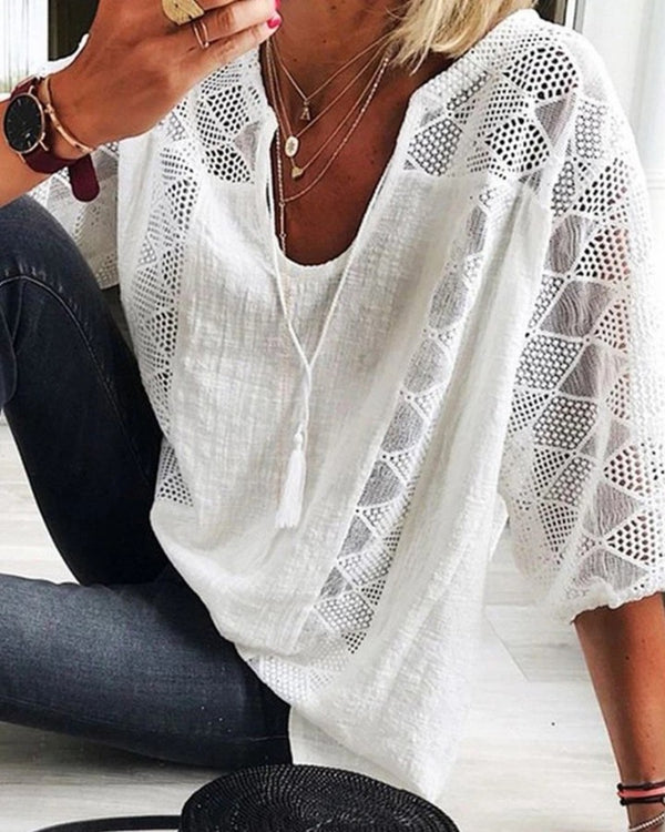 Hollow Out Tassel Design Casual Blouse