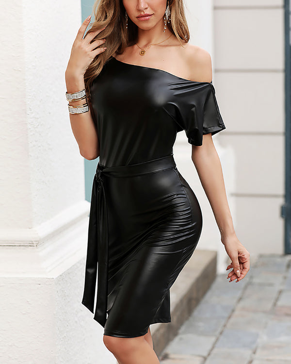Skew Neck Batwing Short Sleeve PU Bodycon Dress