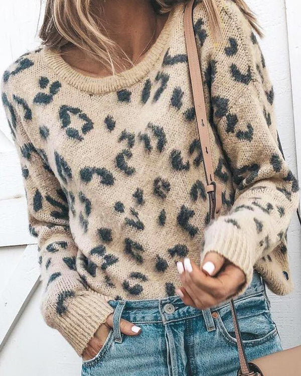 Round Neck Leopard Print Casual Sweater