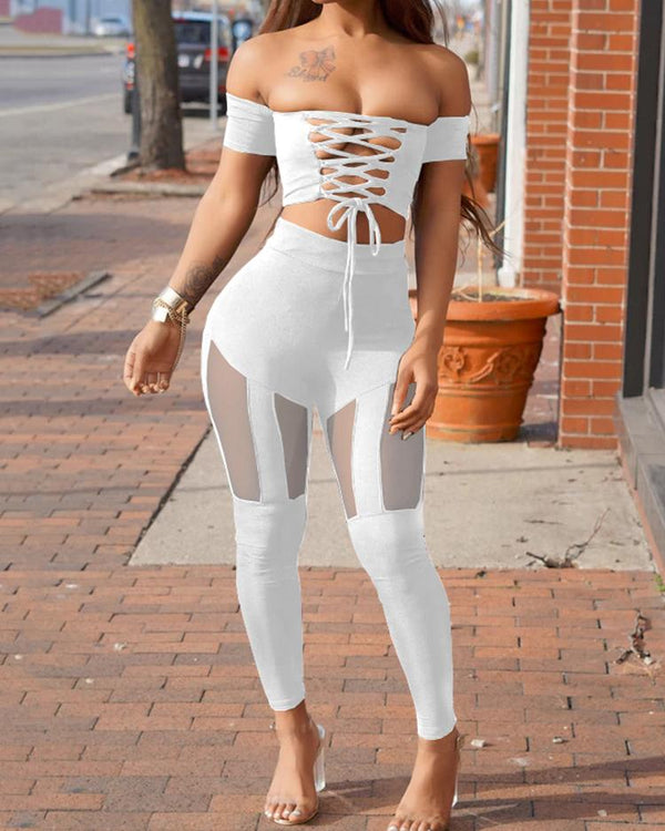 Off Shoulder Lace Up Cropped Splicing Suit Sets