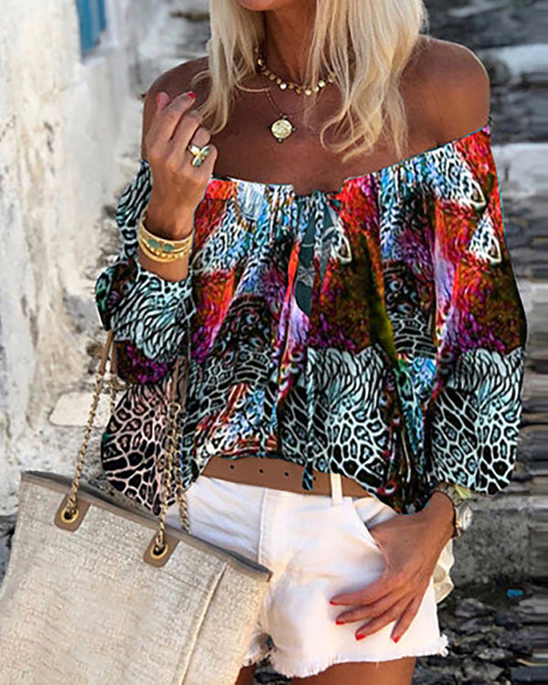 Off Shoulder Peacock Print Tied Front Casual Blouse