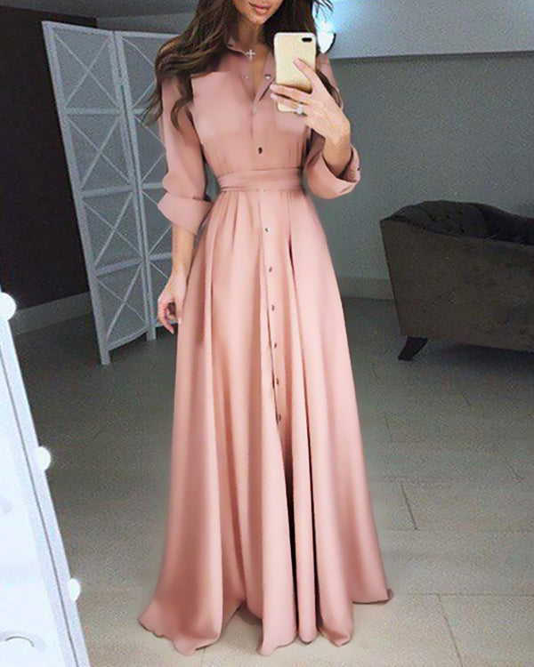 Button Design Long Sleeve Maxi Dress