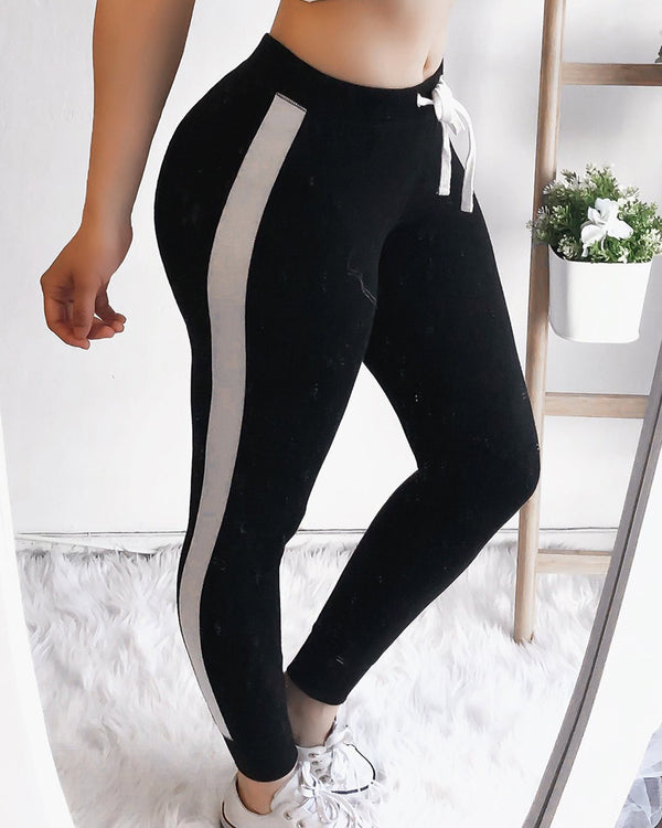 Colorblock Side Stripes Sporty Pants