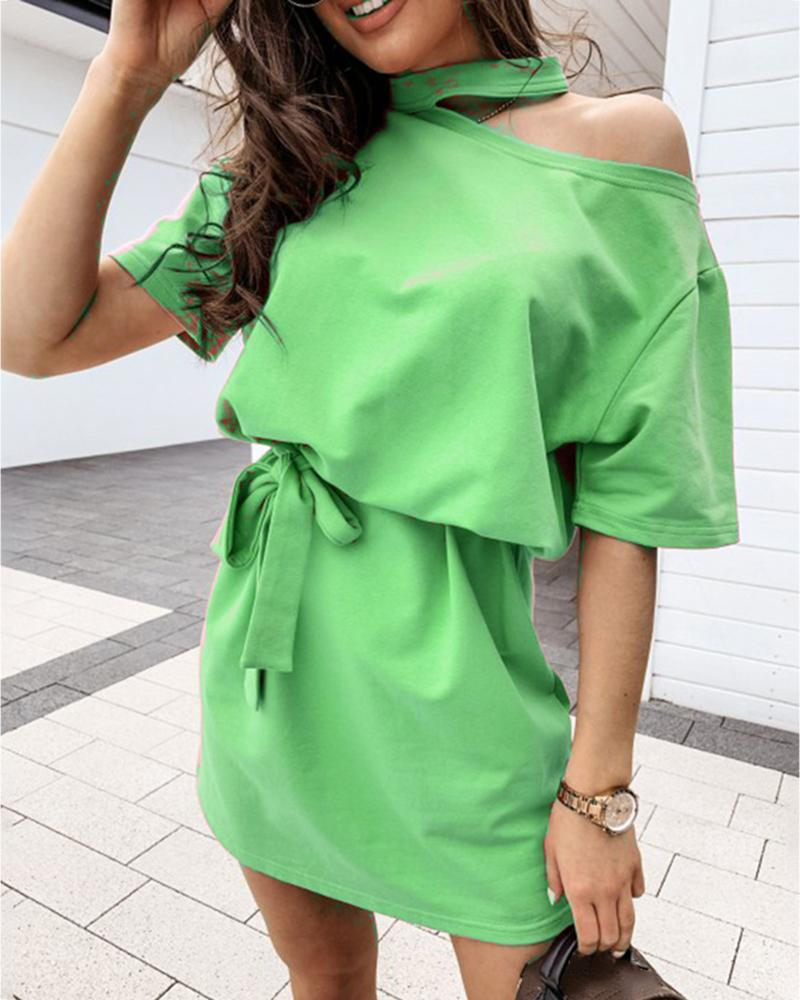 Cold Shoulder Half Sleeve Casual Dress