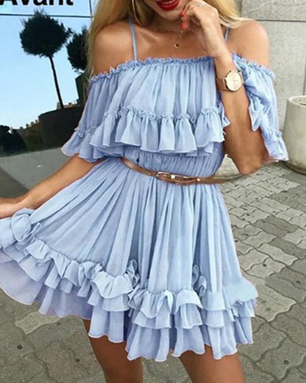 Cold Shoulder Frill Layered Ruffles Dress