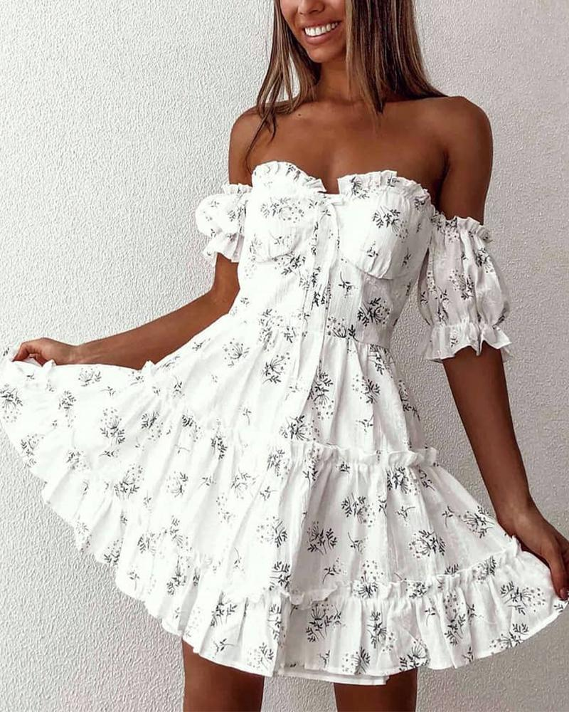 Floral Ruffle Trim Fit & Flare Dress