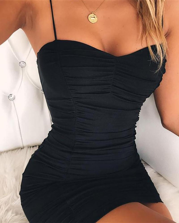 Solid Spaghetti Strap Backless Ruched Dress