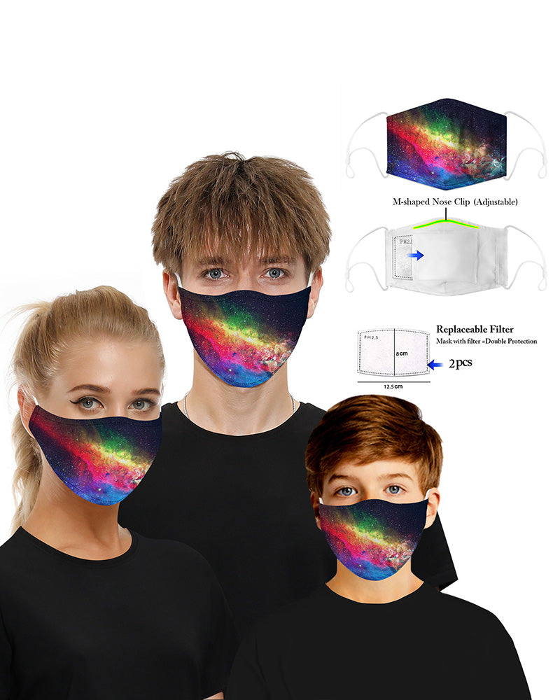 Print Mouth Mask Breathable Washable And Reusable With Replaceable Filter
