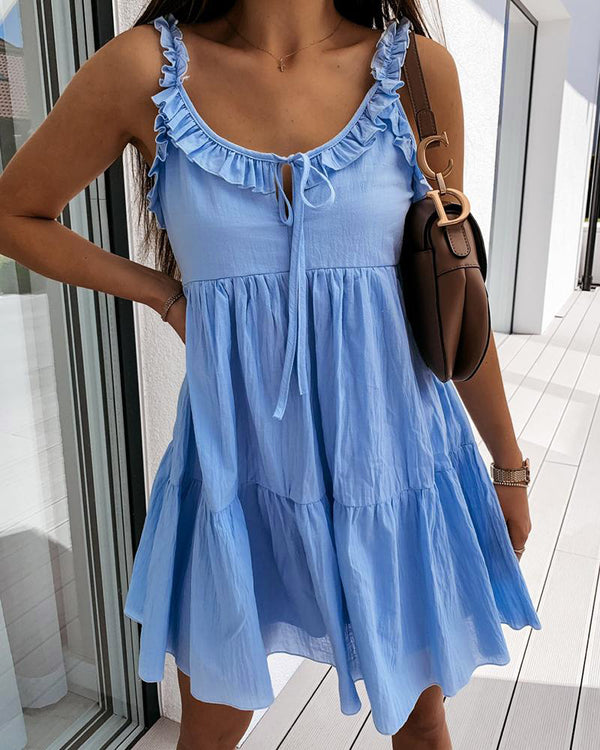 U-Neck Ruffle Trim A-line Casual Dress