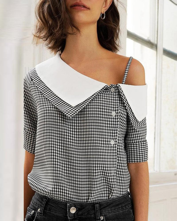 Grid Print Oblique Placket Casual Blouse