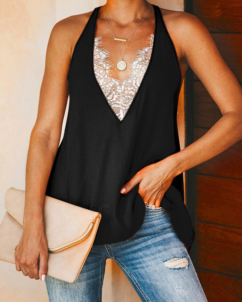 Eyelash Lace Open Back Casual Tank Top