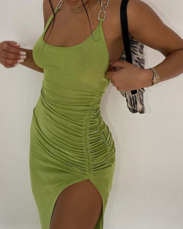 Halter Chain Strap Backless Drawstring Dress