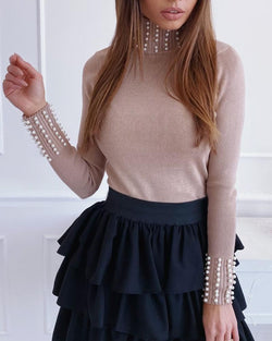 Beaded Long Sleeve Knitting Sweater