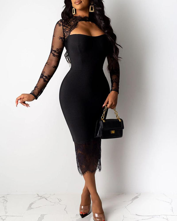 Mock Neck Cut Out Long Sleeve Lace Insert Bodycon Dress