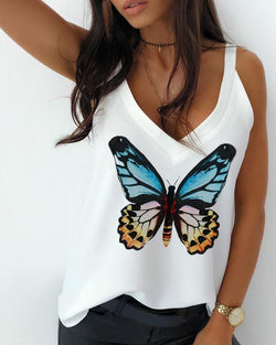 Butterfly Print V Neck Tank Top