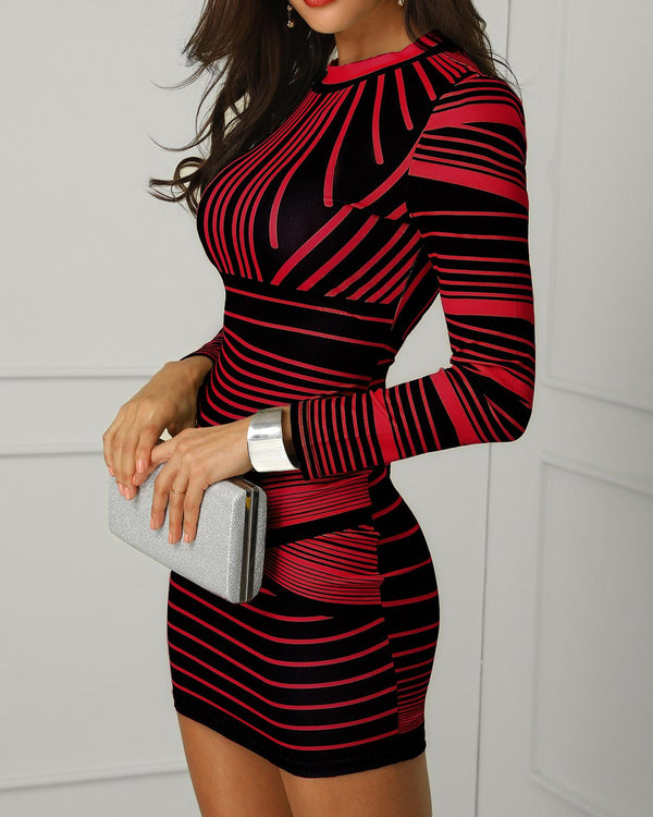 Striped Colorblock Long Sleeve Bodycon Dress