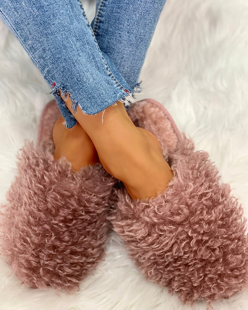 Fluffy Design Print Flat Slippers
