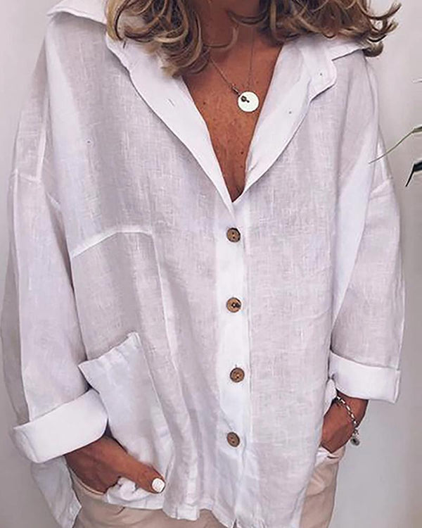Solid Loose Fit Button Down Blouse