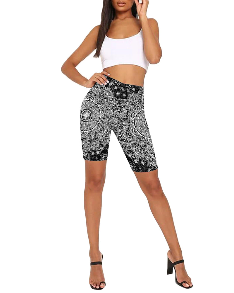 High-Rise Paisley Print Fitted Biker Shorts