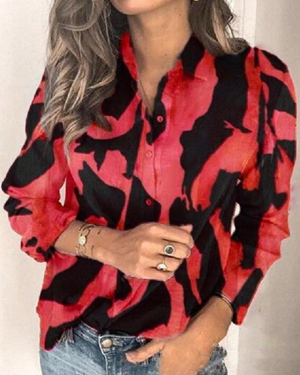 Two-Tone Button Detail Blouse