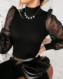 Sheer Mesh Puffed Sleeve Top