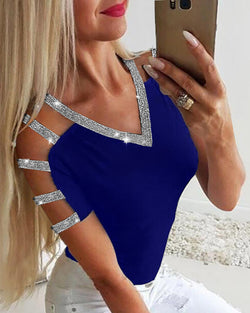 Glitter Ladder Cutout Sleeve Casual Blouse