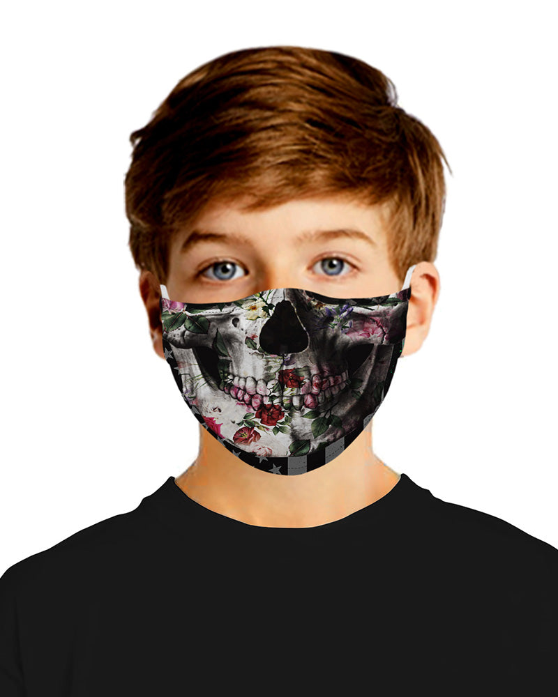 Skull Print Mouth Mask Breathable Washable And Reusable With Replaceable Filter