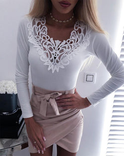 Solid V Neck Lace Trim Top