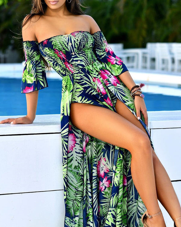 Off Shoulder Print Maxi Dress