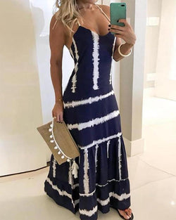 Tie Dye Print Halter Maxi Dress