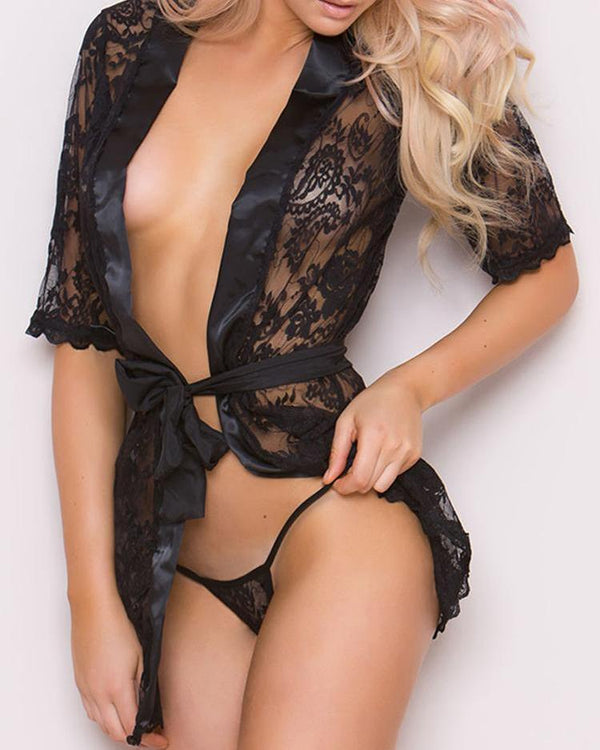 Sheer Lace Crochet Belted Babydoll Nightwear