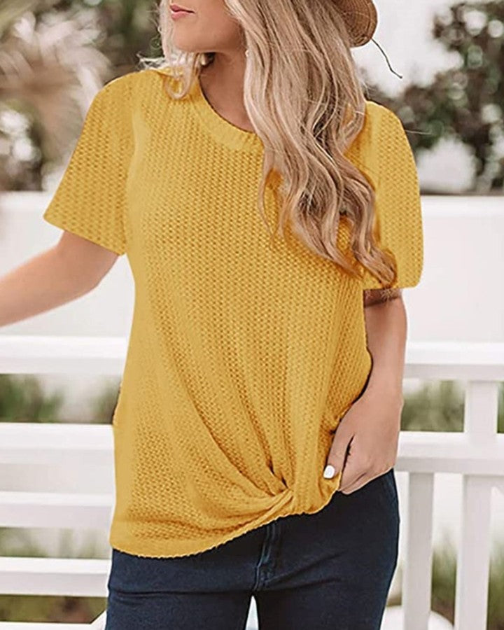 Solid Round Neck Twisted Casual T-shirt