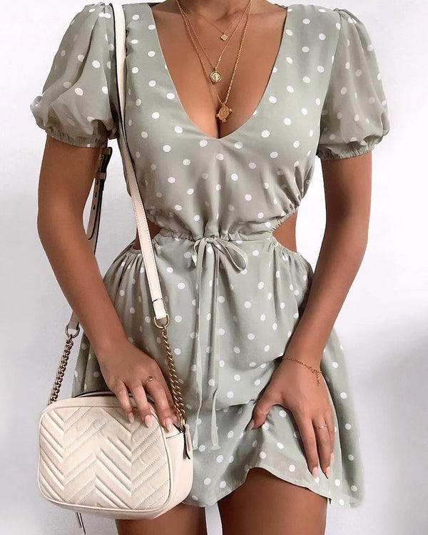 Polka Dot V-Neck Mini Dress