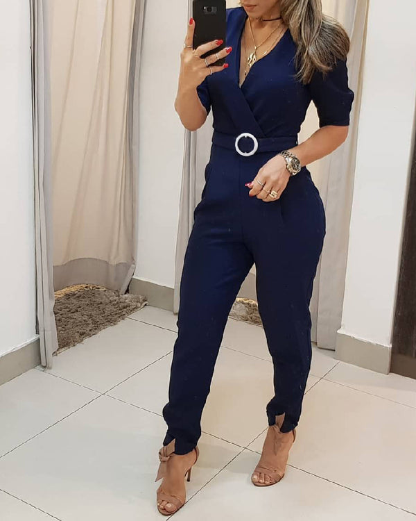 Plain Half Sleeve Wrap Jumpsuit
