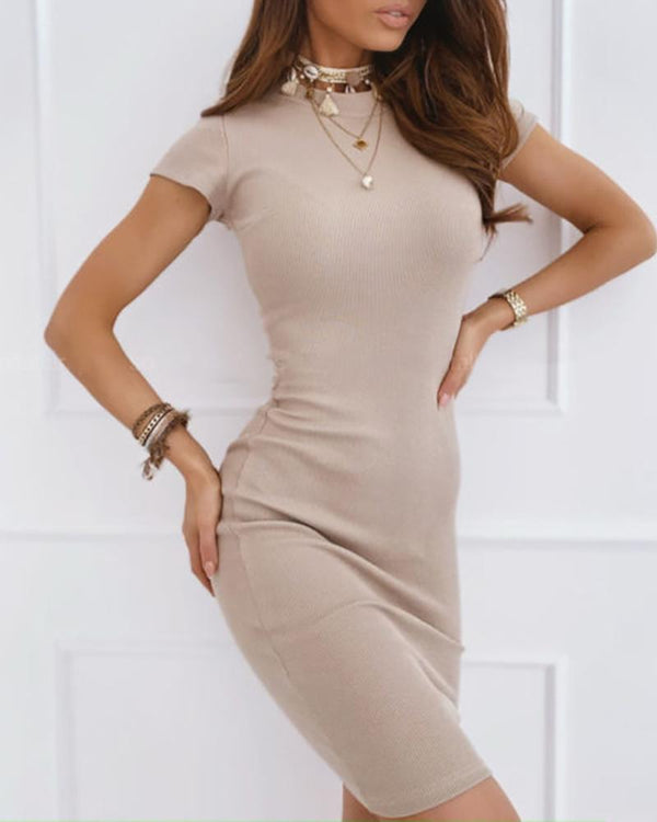 Short Sleeve Round Neck Bodycon Dress