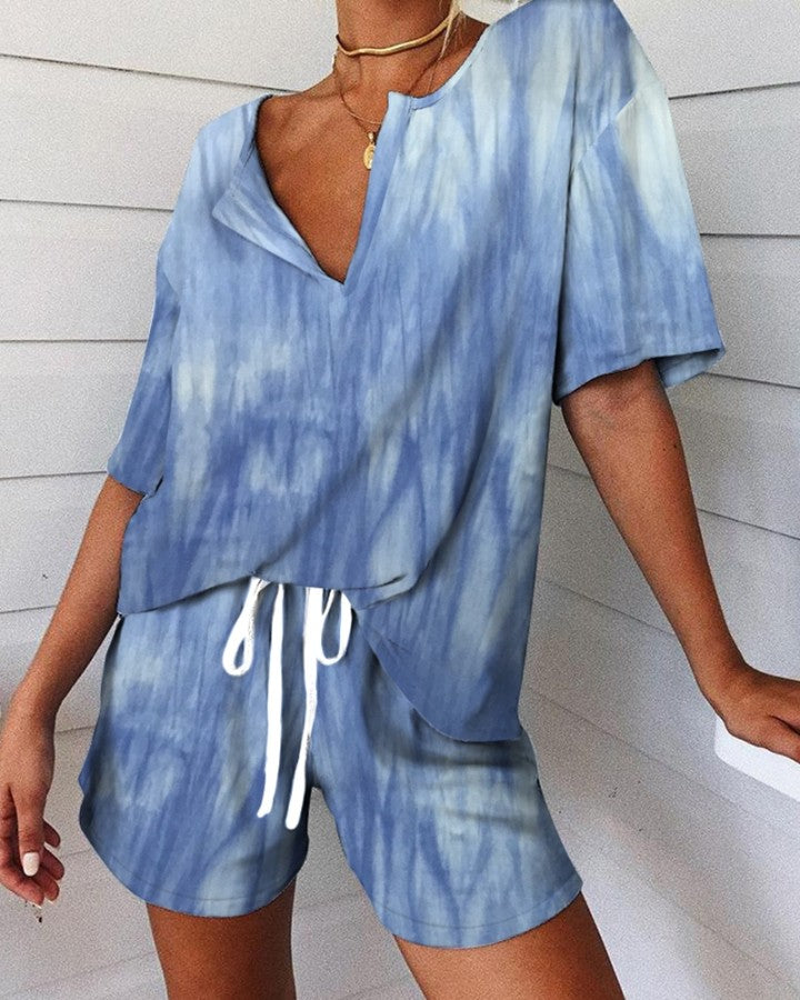 Tie Dye Print V-neck Pajamas Set