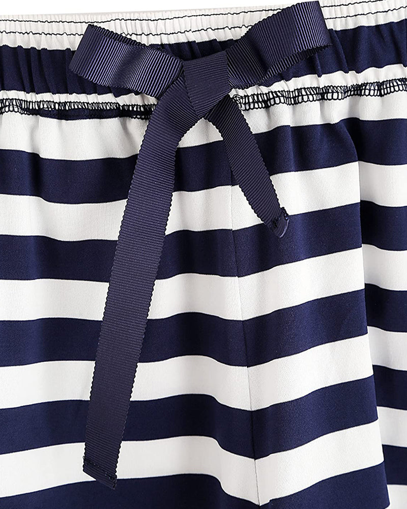 Boat Anchor Print Striped Pajamas Set