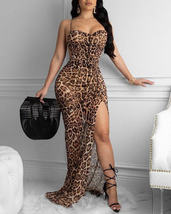 Leopard Print Spaghetti Strap Backless Slit Dress