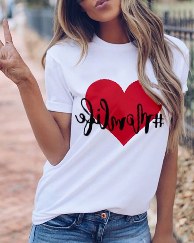 Heart Print Letter Pattern Casual T-shirt
