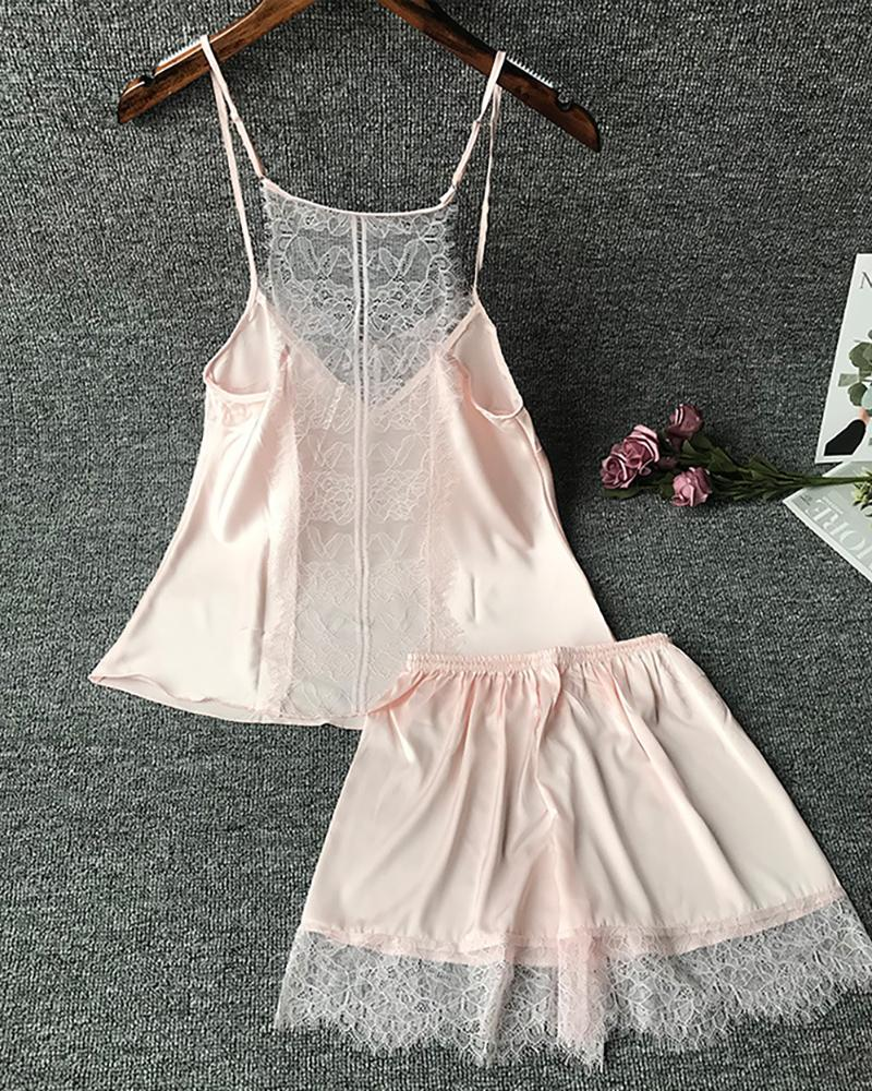 Solid Spaghetti Strap Lace Trim Cami Sets