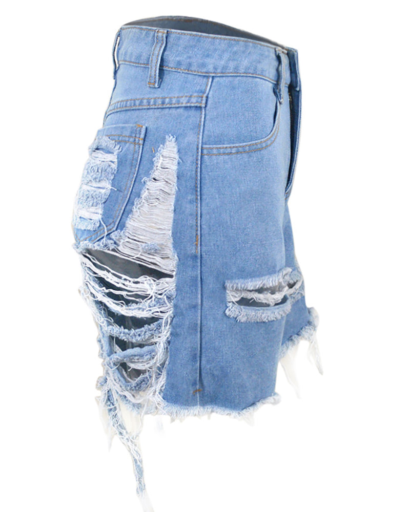 Distressed Cutout Fringe Hem Casual Denim Shorts