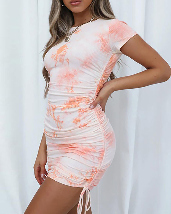 Tie Dye Print Drawstring Bodycon Dress