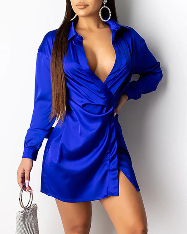 Solid Turn-down Collar Long Sleeve Shirt Dress