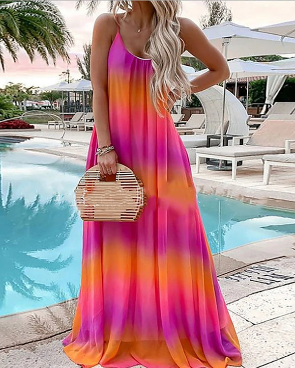 Spaghetti Strap Tie Dye Casual Maxi Dress